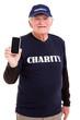 senior volunteer holding smart phone