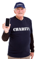senior volunteer holding smart phone