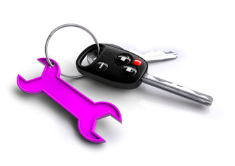 Car keys with spanner keyring