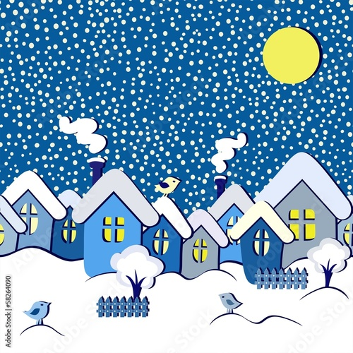 winter fairytale seamless card, vector illustration