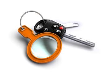 Car keys with pink orange magnifying glass keyring