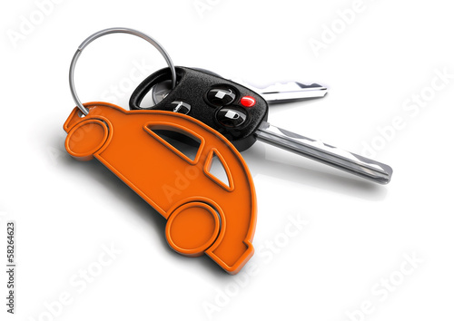 Key with orange car keyring