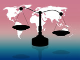 Illustration of international justice and human rights