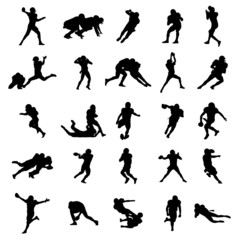 American Football Black Vector Silhouettes Illustration