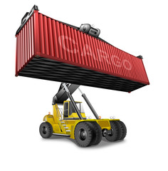 Container Stapler mit roten Container