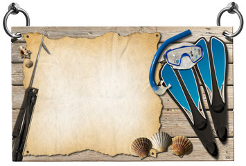 Spearfishing - Wooden Signboard