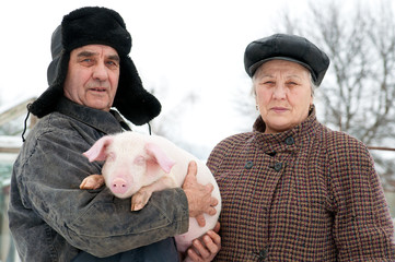 Spouses of retired farmers engaged in growing pigs.