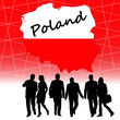 Map of Poland next to Polish people