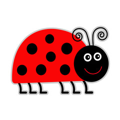 Cute cartoon lady bug. Isolated.