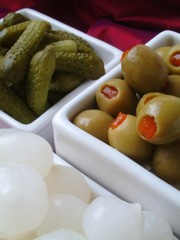 stuffed olives gherkins pickled onions
