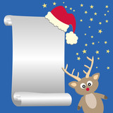 Funny reindeer with list of wishes