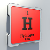 Hydrogen - element from periodic table on red button poster
