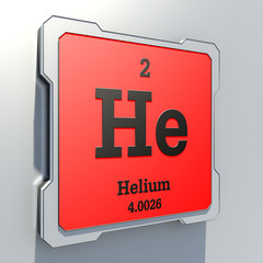 Helium - element from periodic table on red button