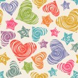 Pattern with doodle hearts and stars