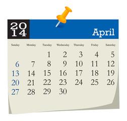calendar 2014 april