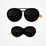 two vector black sunglasses