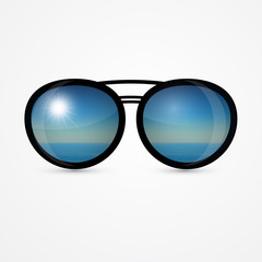 vector sunglasses with sea scene reflection