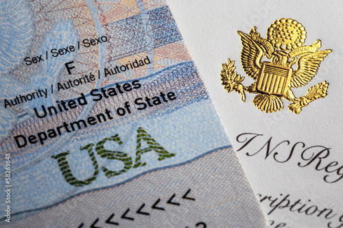 Passport with symbols of United States of America.