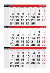 March 2014 Three-Month Calendar