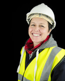 smiling female builder / construction worker