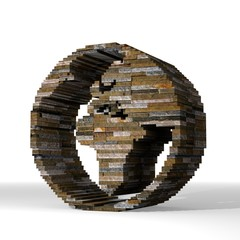3d render of a strong world sign  built out of stones