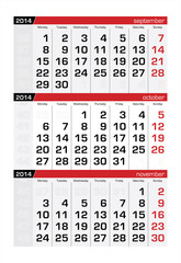 October 2014 Three-Month Calendar