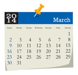 calendar 2014 march