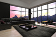 Modern loft living room interior with twilight sky view