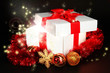 Gift box with bright light on it on dark background