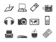 Silhouette Hi-tech technical equipment icons - vector icon set 3