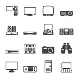 Silhouette Hi-tech equipment icons - vector icon set 2