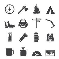 Silhouette Tourism and Holiday icons - Vector Icon Set