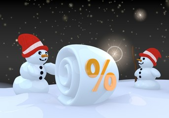 two snowman with percent sign
