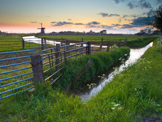 Polder landscape during sunset