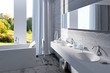 Modern bathroom interior with concrete wall