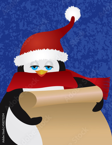 Penguin Santa Holding Scroll Vector Illustration