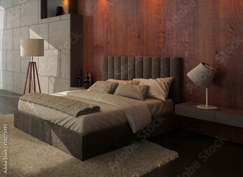 Modern design bedroom interior with kingsize bed and wooden wall