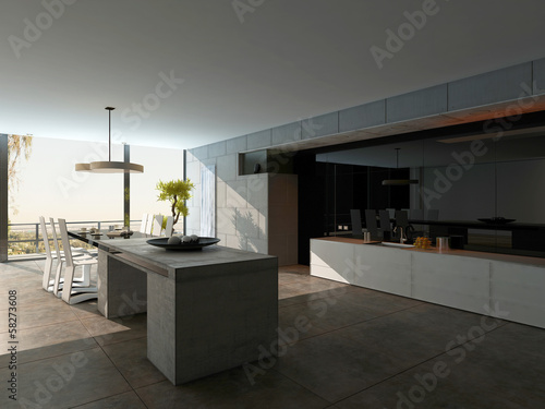 Stylish design kitchen interior with stone cooking island