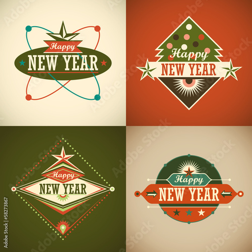 Retro Happy New Year stickers.
