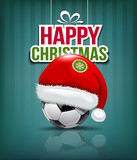 Merry Christmas, Santa hat on soccer ball background