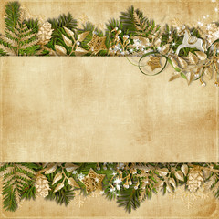 Christmas card with miraculous garland on vintage background