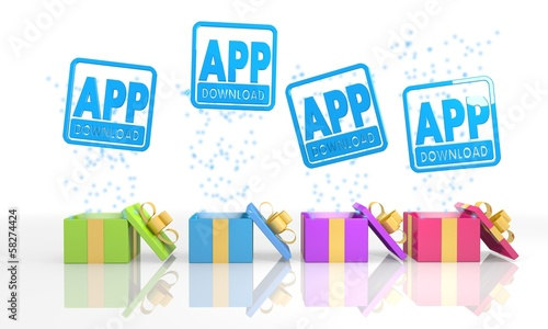 isolated present boxes with app download icon