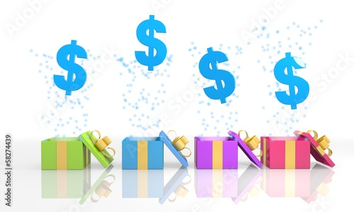isolated present boxes with Dollar symbol