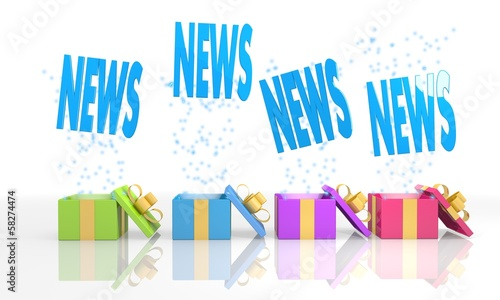 isolated present boxes with news icon