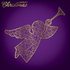 Elegant filigree Christmas card in vector format.