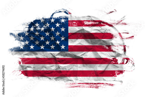 canvas print picture USA flag on Crumpled paper texture