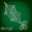 Elegant filigree Christmas card in vector format.