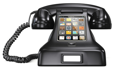 Retro telephone with smartphone touch screen and apps.