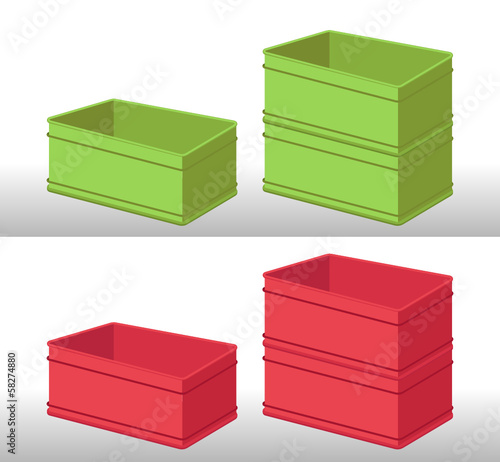 set of green and red plastic boxes