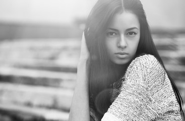 Young sensual model girl face. Black-white photo